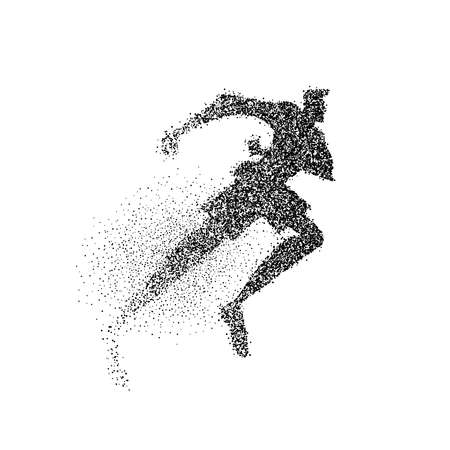 Man running silhouette made of black particle dust splash on isolated background. Abstract athlete boy in action. EPS10 vector. Illustration