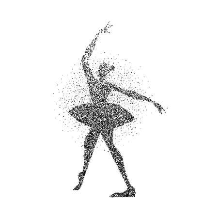 Girl silhouette dancing classic ballet made of particle splash. Ballerina dancer pose in motion. EPS10 vector.