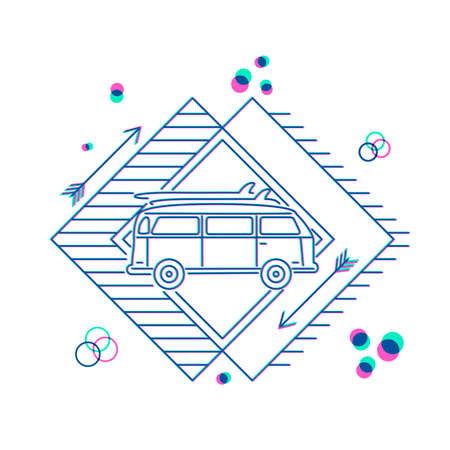Retro surfer icon design in flat line art style with car van taking surf boards to the beach. EPS10 vector. Illustration