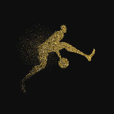 Basketball player silhouette made of gold glitter splash isolated over black background. Golden color athlete man jumping with basket ball. EPS10 vector.
