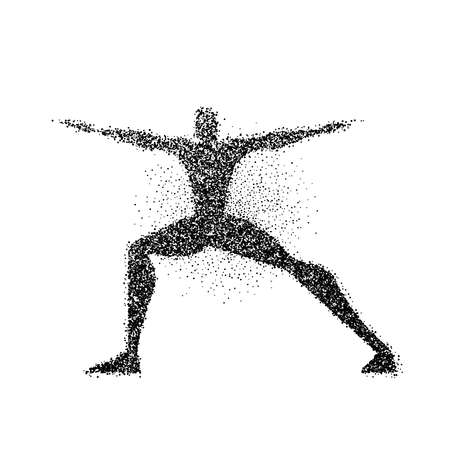 Yoga pose silhouette made of particle dust splash. Man doing meditation exercise in action. EPS10 vector.