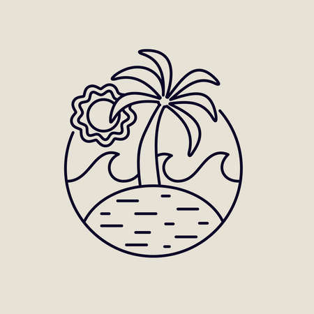 Tropical island line art icon in modern flat style. Summer beach illustration with palm trees, ocean waves and sun. EPS10 vector.