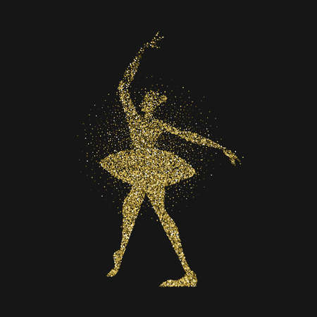 Ballet dancer girl silhouette made of gold glitter dust splash. ballerina woman dancing in motion on black background. EPS10 vector.