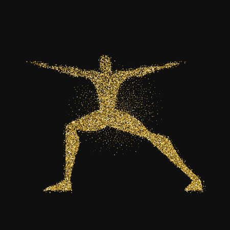 Yoga pose silhouette made of gold glitter dust on black background. Golden color man doing meditation exercise. EPS10 vector.
