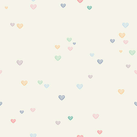 Cute heart shape seamless pattern of hand drawn chalk hearts. Love doodle background illustration. EPS10 vector.