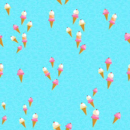 Seamless pattern of cute hand drawn ice cream cones. Summer season food background. EPS10 vector.