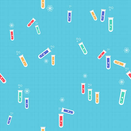 Science experiment seamless pattern of colorful chemistry flasks and tubes. Cute doodle background illustration for school or laboratory project. EPS10 vector.     Illustration