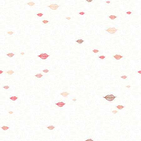 Red lipstick kiss seamless pattern of hand drawn girl lip makeup. Cute doodle background illustration. EPS10 vector.   