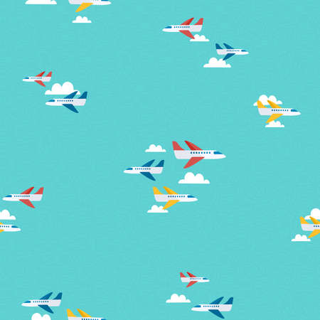 Seamless pattern of colorful planes flying in the sky. Airplane travel background illustration. EPS10 vector.