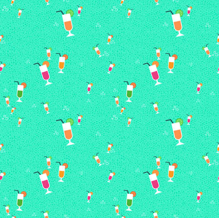 Seamless pattern of hand drawn fruit juice glasses. Summer season drink background. EPS10 vector.