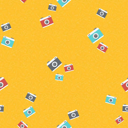 Seamless pattern of colorful retro photo cameras. Vintage photography equipment background illustration. EPS10 vector.  Illustration