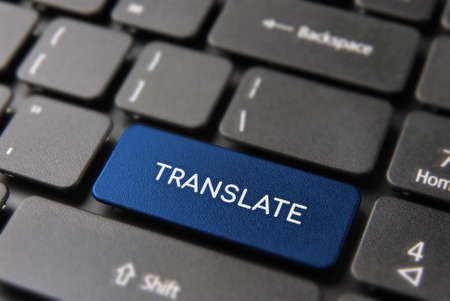 Multi language translation concept, computer keyboard with translate text on color keypad button. Stock Photo - 100859767