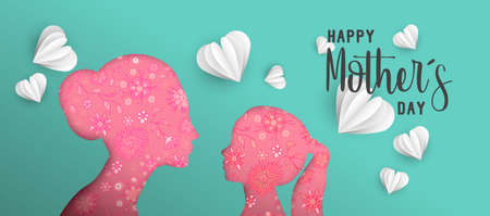 Happy Mothers day holiday illustration. Pink paper cut mom and girl silhouette cutout with spring doodles. Horizontal format design ideal for web banner or greeting card. EPS10 vector.