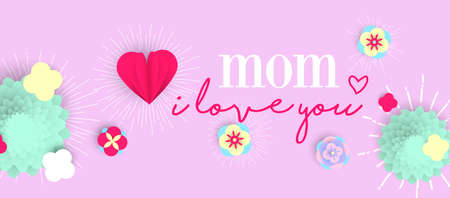 Happy Mothers day holiday illustration. 3d paper art spring flowers and hearts with love text quote. Horizontal format design ideal for web banner or greeting card. EPS10 vector. Standard-Bild - 100506965