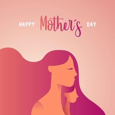 Ilustración de tarjeta de felicitación de feliz día de las madres para vacaciones familiares con siluetas de mamá y niño. Eps10 vector. Ilustración de vector