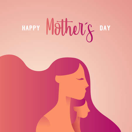 Happy Mothers Day greeting card ilustration for family holiday with mom and child silhouettes. EPS10 vector.