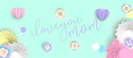 Happy Mothers day holiday illustration. 3d paper art spring flowers and hearts with love text quote. Horizontal format design ideal for web banner or greeting card. EPS10 vector.