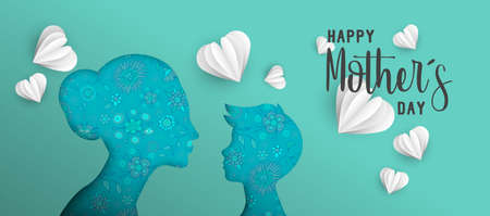 Happy Mothers day holiday illustration. Pink paper cut mom and boy silhouette cutout with spring doodles. Horizontal format design ideal for web banner or greeting card. EPS10 vector. Иллюстрация