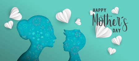 Illustration de vacances bonne fête des mères. Papier rose découpé découpe silhouette maman et garçon avec des griffonnages de printemps. Conception de format horizontal idéale pour la bannière Web ou la carte de voeux. Vecteur EPS10. Banque d'images - 100564320
