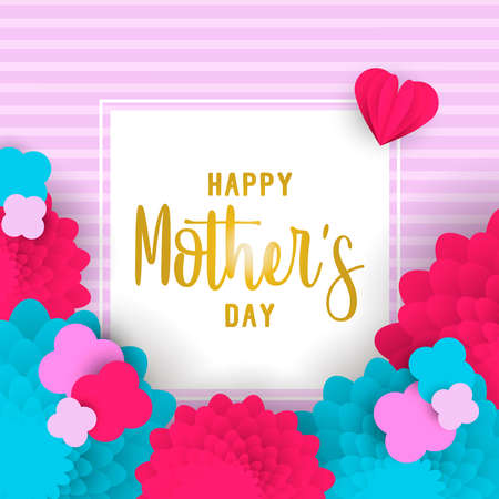 Happy mothers day greeting card template with 3d paper flowers decoration on pink background. EPS10 vector. Illustration