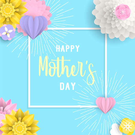 Happy mothers day illustration with 3d paper flowers and hearts on pastel color background.  Design idea for greeting e-card. EPS10 vector. Illustration