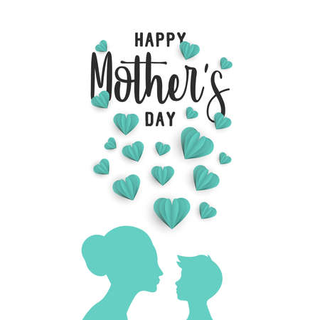 Happy mothers day holiday greeting card illustration of mom with little boy and 3d paper cut heart shapes for special family event. EPS10 vector.
