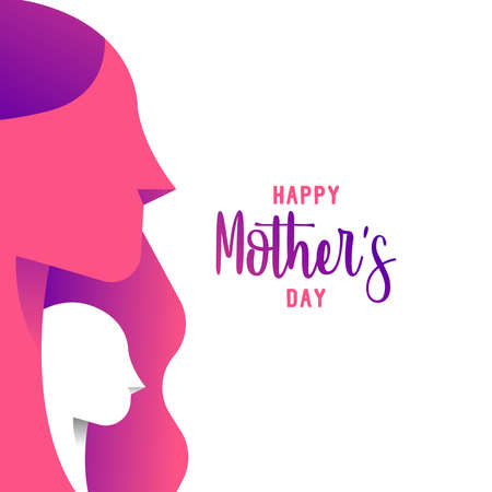 Happy Mothers Day greeting card ilustration for family holiday with beautiful mom and child silhouettes. EPS10 vector. Vectores