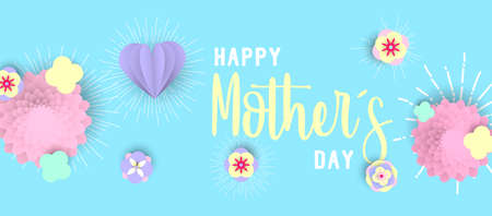 Happy mothers day illustration with 3d paper flowers and hearts on pastel color background. Horizontal format design ideal for web banner or greeting card. EPS10 vector.