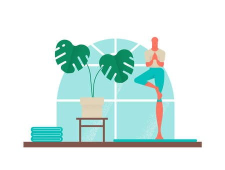 Man exercising at home, yoga sport fitness illustration of boy in tree pose. Healthy lifestyle design with modern house interior decoration vector. Illustration