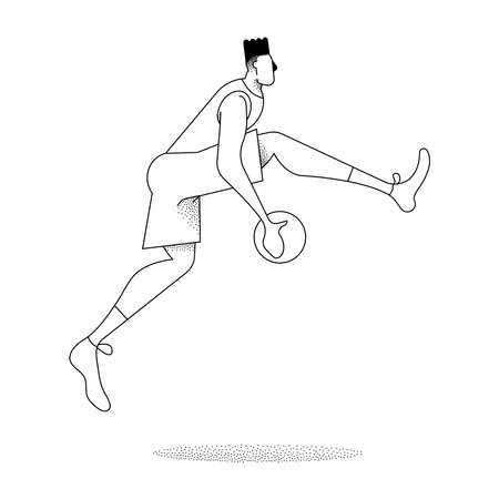 Man playing basket ball, modern black and white outline style. Basketball jump pose in action over isolated background vector. Illustration