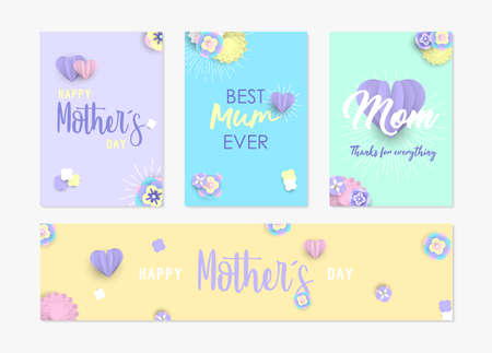 Happy mothers day card and label set template with 3d paper flowers, hearts on pastel color background.