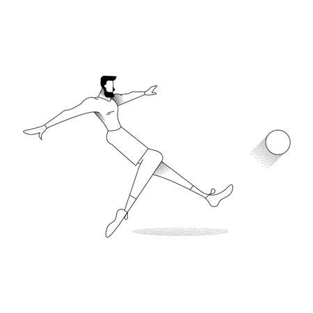 Man playing soccer, modern black and white outline style. Football kick pose in action over isolated background.