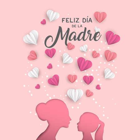 Illustrazione felice della cartolina d'auguri di festa della mamma in lingua spagnola. Ritaglio di sagoma di mamma e bambina tagliata carta rosa con papercraft a forma di cuore 3d.