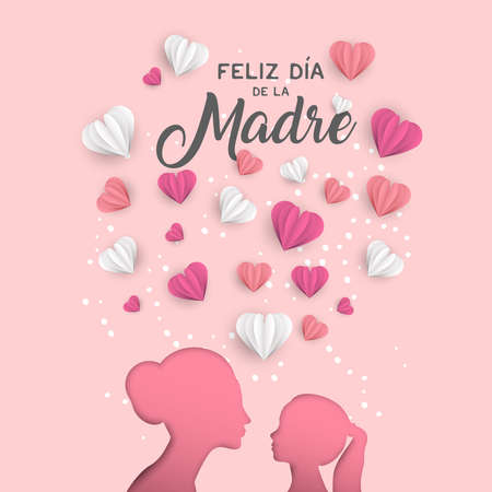 Happy Mothers day holiday greeting card illustration in spanish language. Pink paper cut mom and little girl silhouette cutout with 3d heart shape papercraft.