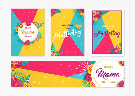 Happy Mothers day greeting card and label set template in german language with paper cut hearts, flower decoration. Ilustração