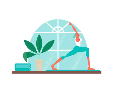 Girl doing yoga exercise at home studio. Modern style illustration of woman working out vector.