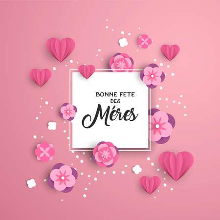 Modello di biglietto di auguri felice festa della mamma in lingua francese con cuori tagliati in carta rosa e decorazioni floreali.