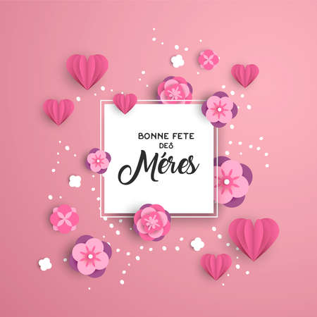 Plantilla de tarjeta de felicitación de feliz día de las madres en idioma francés con corazones de corte de papel rosa y decoración floral.