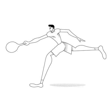 Man playing tennis, modern black and white outline style. Boy with racket in action over isolated background.
