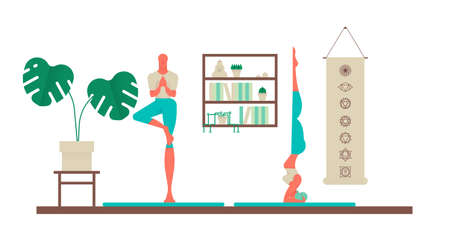 Man and woman exercising at yoga studio. Sport fitness illustration of healthy people lifestyle with modern house interior decoration.