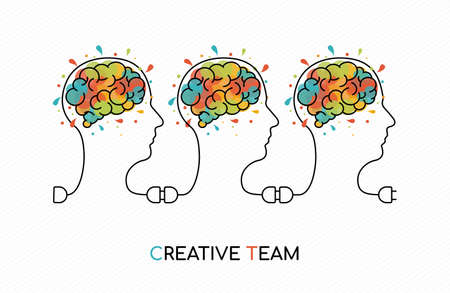 Creative teamwork concept outline style illustration with people team as power wire and colorful art splash human brain.
