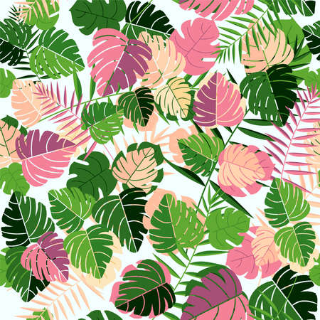 Tropical palm tree leaves seamless pattern background with hand drawn retro style jungle leaf decoration. Illustration