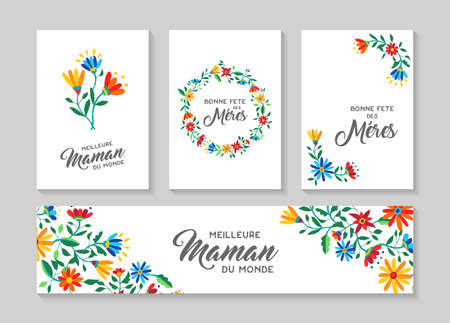 Happy mothers day flower greeting card and label set in french language with beautiful spring flowers, nature decoration collection.