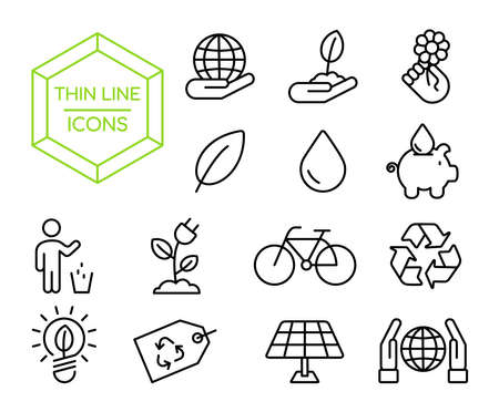 Green Eco friendly thin line icon set, environment conservation symbol collection in modern outline style.  イラスト・ベクター素材