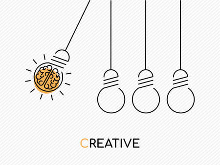 Kreative Ideenkonzeptillustration im modernen Entwurfsdesign mit menschlichem Gehirn als elektrische Glühbirne.