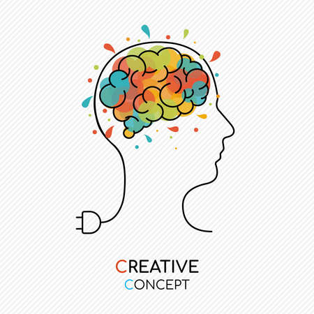 Creative thinking concept outline style illustration with human head as power wire and colorful art splash brain.