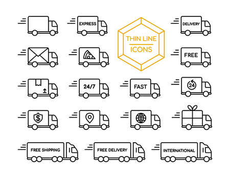 Delivery truck thin line icon set, fast shipping service symbol collection in modern outline style for online business. Illustration