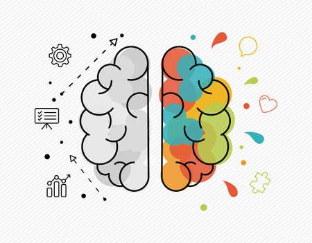 Illustration des Hemisphäre-Konzepts des menschlichen Gehirns des rationalen und kreativen Denkens. Ideal für neue Ideen in geschäftlichen oder künstlerischen Projekten.