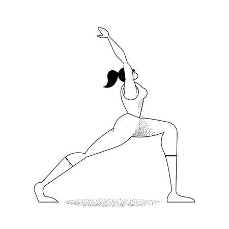 Woman yoga pose in modern outline style with halftone gradients. Healthy lifestyle girl silhouette doing meditation. Illustration