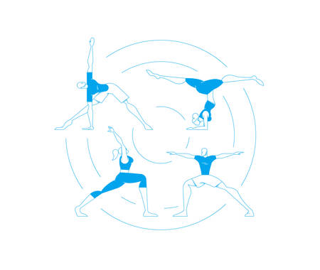 Set of people doing yoga poses workout, women and men exercising in modern flat outline style. Illustration